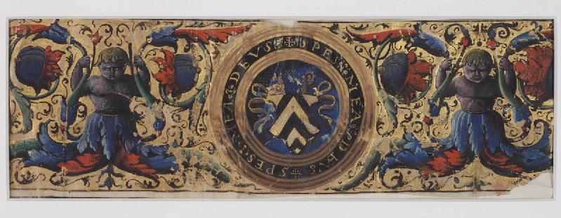 Antiphonaire de Mirepoix : Bandeau aux armes de Philippe de Lévis, évêque de Mirepoix, blason : SPES MEA DEUS_0