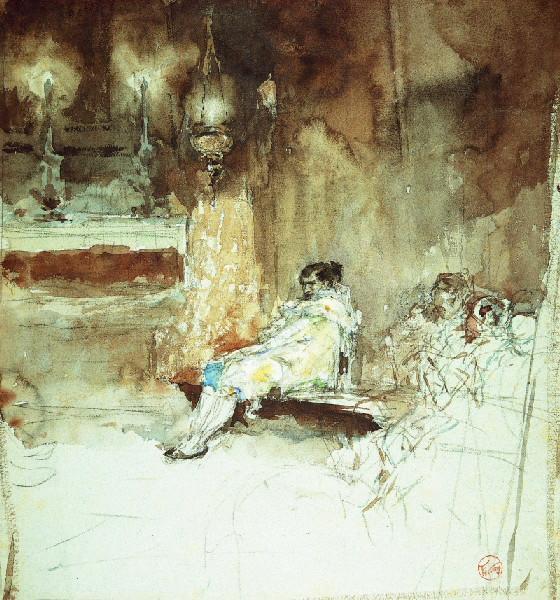 FORTUNY Y MARSAL Mariano : Lagartijo dans la chapelle de Madrid, Personnage au costume de Torero (ancien titre)