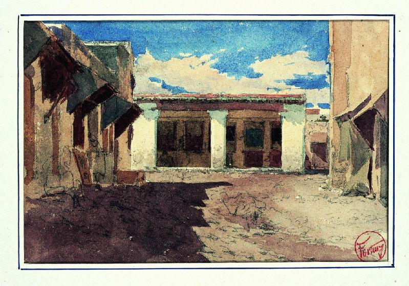 FORTUNY Y MARSAL Mariano : Rue commerçante au Maroc