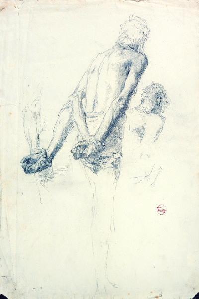 Trois esquisses d'un homme vu de dos les bras croisés_0