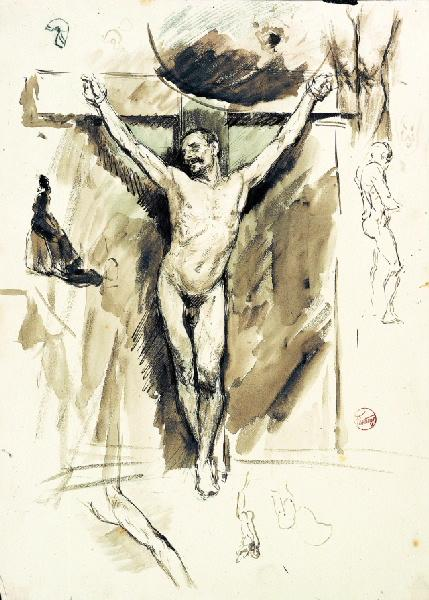 FORTUNY Y MARSAL Mariano : Académie d'homme en croix