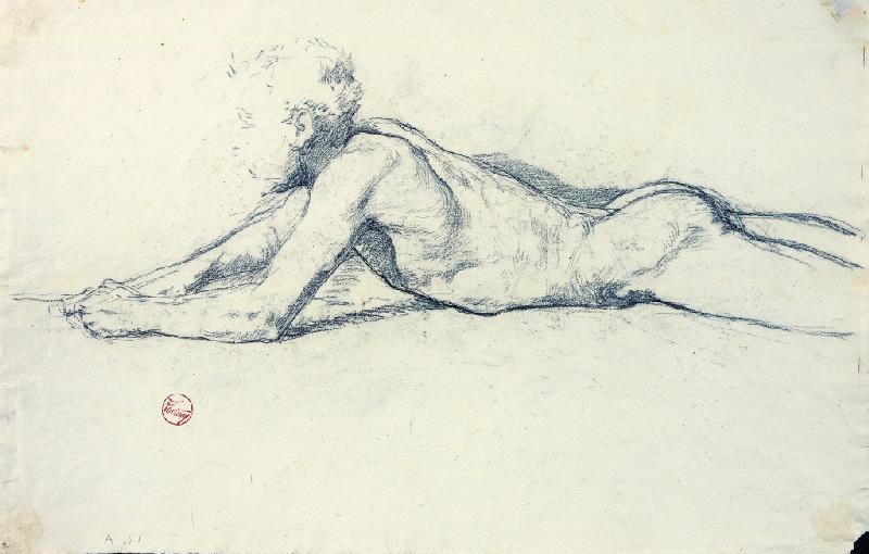 FORTUNY Y MARSAL Mariano : Homme nu allongé (étude n° 2)
