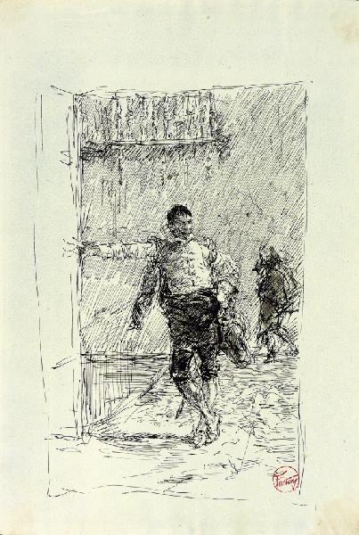 FORTUNY Y MARSAL Mariano : Homme appuyé contre un mur