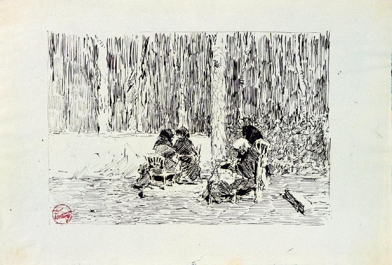 FORTUNY Y MARSAL Mariano : Quatre femmes assises