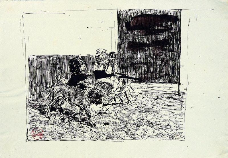 FORTUNY Y MARSAL Mariano : Femmes assises et chien
