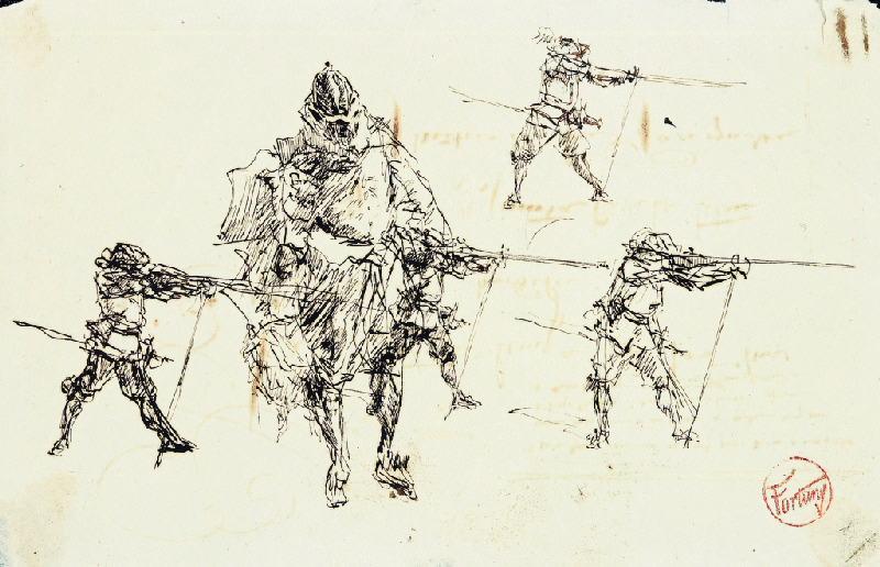 Mousquetaires et homme de guerre