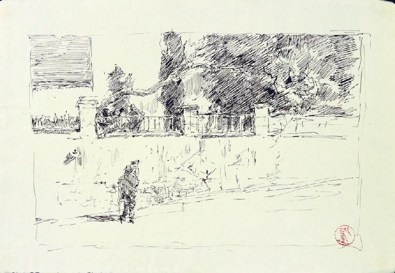 FORTUNY Y MARSAL Mariano : Rue de Grenade bordée par un jardin