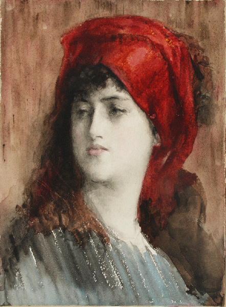 BRIGUIBOUL Marcel : Jeune fille au turban rouge