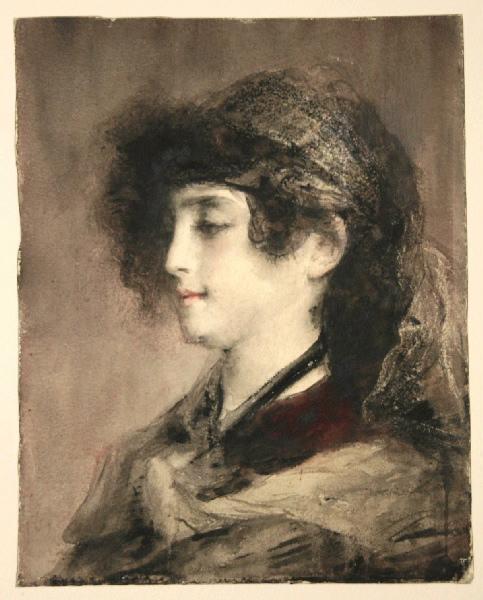 Jeune femme aux cheveux noués_0