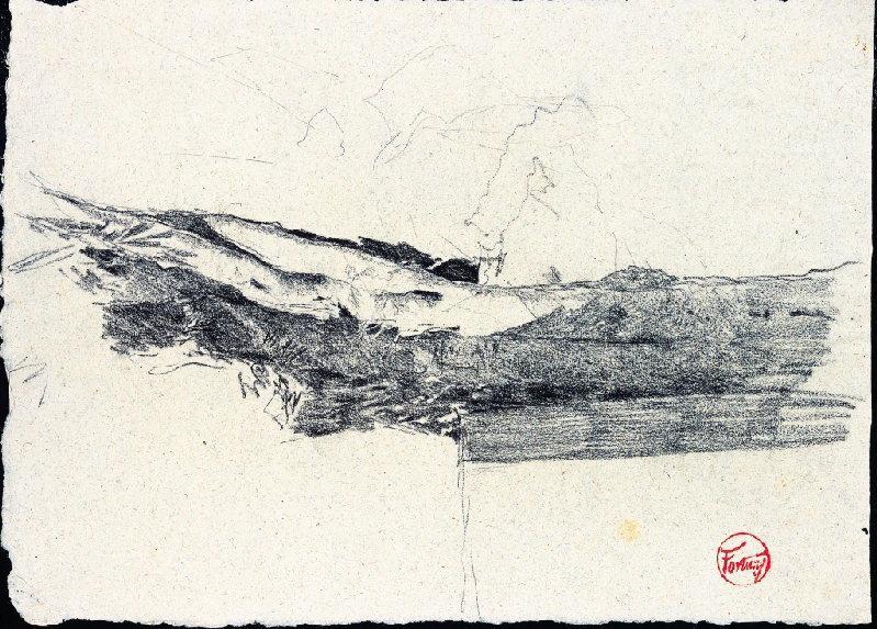 FORTUNY Y MARSAL Mariano : Esquisse de paysage (Recto)
