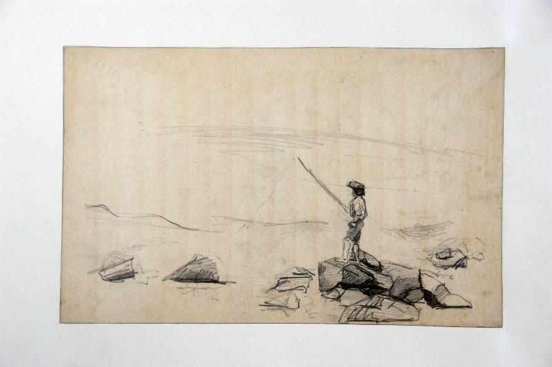 BRIGUIBOUL Marcel : Pêcheur sur un rocher