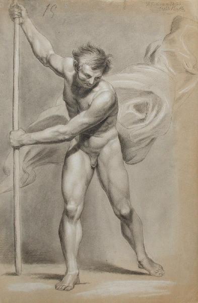 Homme nu debout avec un bâton et draperie_0
