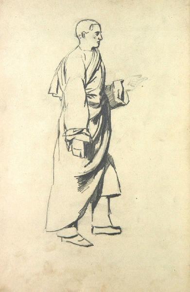 Homme drapé debout de profil_0