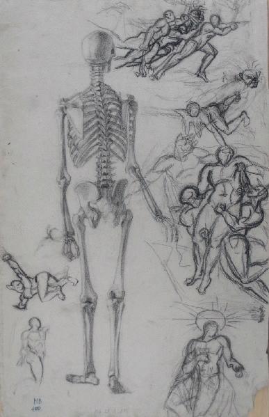 Squelette de dos (verso avec croquis de personnages)_0