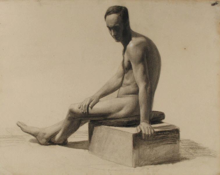 BRIGUIBOUL Marcel : Homme nu assis de profil