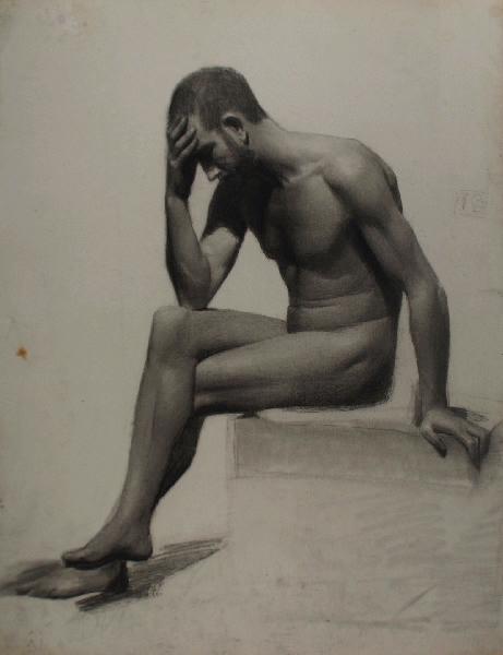BRIGUIBOUL Marcel : Académie d'homme assis