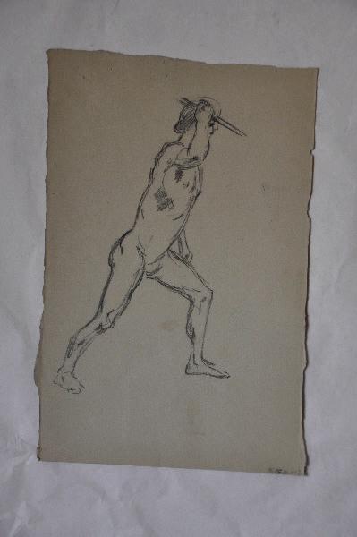 GONTIER Clément (dessinateur) : Académie d'homme au javelot, Homme tenant un javelot