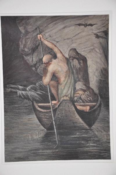 VALATX Marie Dominique (dessinateur) : Caron et les damnés passant le Styx