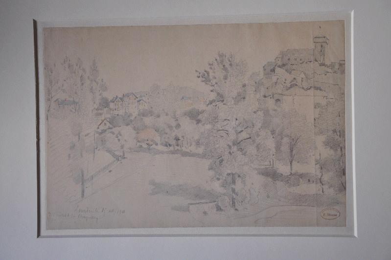 MAZAS Etienne (dessinateur) : Vue de Lourdes de l'hôtel de la chapelle le 15 octobre 1911
