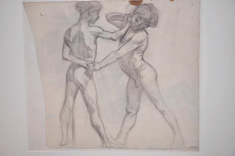 GONTIER Clément (dessinateur) : Deux jeunes garçons nus à la lutte, Enfants ('autre titre)