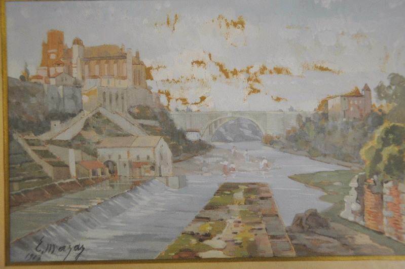 MAZAS Etienne (dessinateur) : Cathédrale de Lavaur et le moulin vus depuis l'Agout