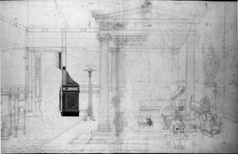 Décor architectural (Avec silhouette des personnages à la plume)