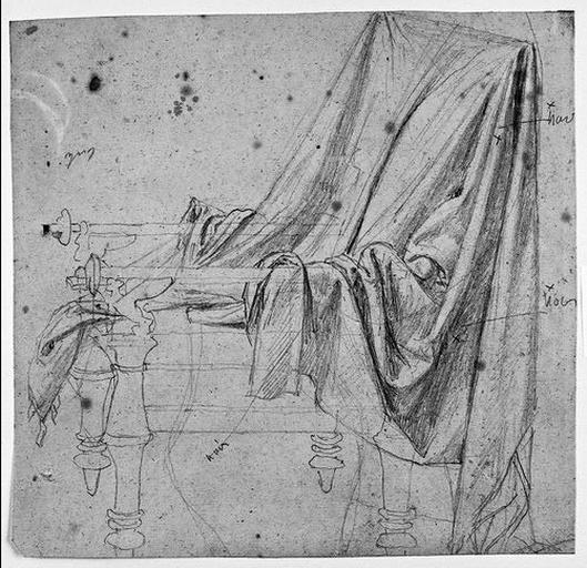 Draperie posée sur un siège antique ; Verso : Homme nu tenant un sceptre (et tendant la main, avec reprise)_0