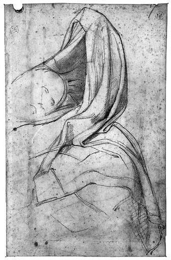 Antiochos (Son bras gauche soulevant la draperie qui le cache, avec la tête esquissée). Au verso : ANTIOCHOS, sa tête, avec le bras gauche, à la plume, en pointillé_0
