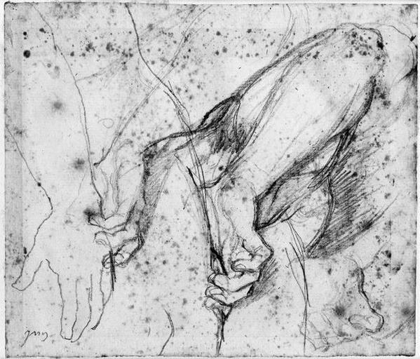 Antiochos et main d'Erasistrate (Trois études pour son bras droit d'Antiochos )_0