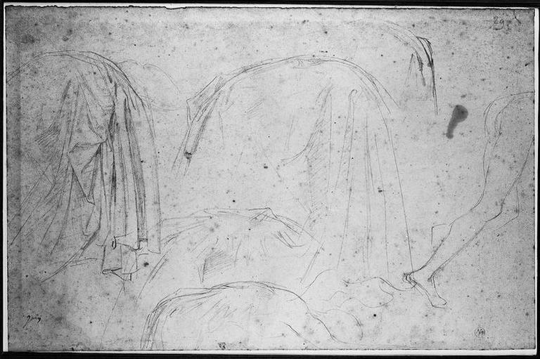 Seleucos (Plusieurs études pour son manteau, et le bas de son corps nu, à droite)_0