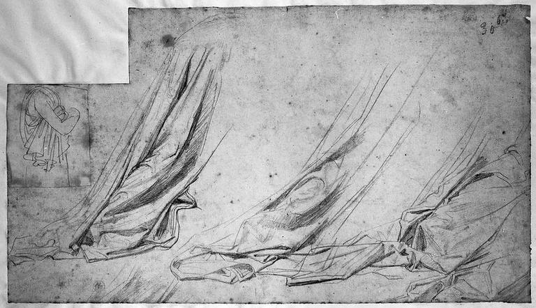 Seleucos et buste d'un personnage drapé (Seulocos : trois études pour la partie postérieure de son manteau). Collé : buste d'un personnage drapé (sans tête, de profil à droite)_0