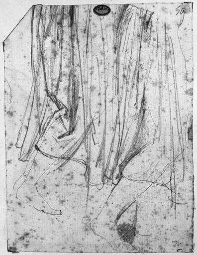 Familier d'Antiochos (Bas de sa tunique et double étude de sa jambe droite). Verso : familier d'Antiochos (deux études pour son bonnet phrygien et partie supérieure de son corps)_0