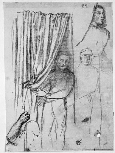 Jeune Homme soulevant une draperie (trois études pour la jeune esclave) et homme tenant un bâton (son bras droit)_0