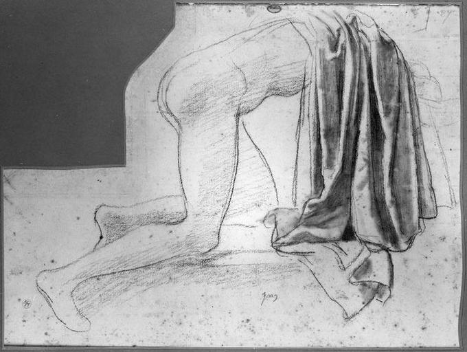Seleucos (Partie postérieure de son manteau, sur son corps nu agenouillé). Verso : Ses jambes nues, et variante d'un pied_0