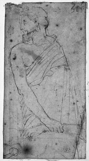 Erasistrate (Tenant le poignet d'Antiochos). Verso : STRATONICE (?). Bas d'un costume féminin