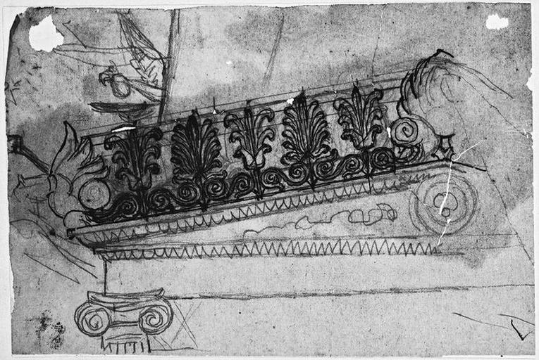 Couronnement du lit d'Antiochos (Avec palmettes et chapiteau ionique)_0