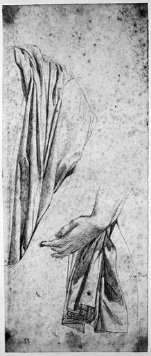 Virgile (Le côté gauche de son manteau et étude de sa main gauche.)