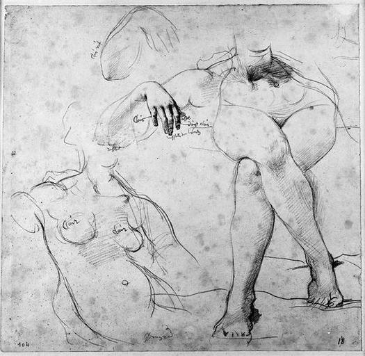 Livie (Nue, son torse à demi couché et le bras droit accoudé ; ses jambes croisées ; deux études de la main droite.)_0