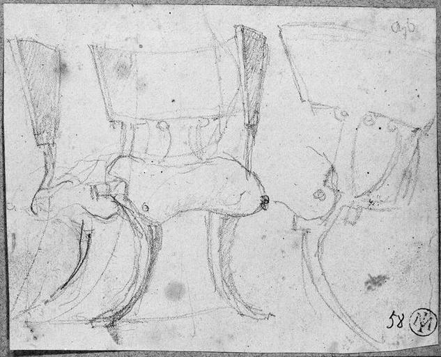 Siège antique (Vu de trois côtés différents). Verso : Epée_0