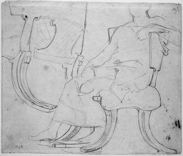 Siège antique (Avec silhouette d'un homme assis et reprise d'un détail du même siège). Verso : Etudes pour le même siège, et silhouette d'un homme._0