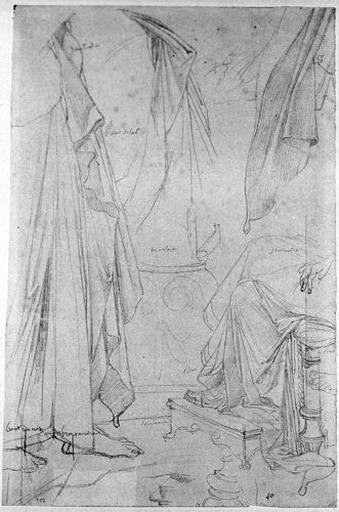 Etudes de manteaux (Une pour Virgile, deux pour Auguste, une pour Octavie. Et Détails de sièges et de marchepieds)_0