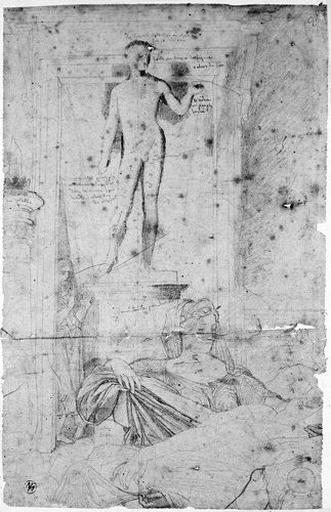 Décor avec la statue de Marcellus (On aperçoit Livie, Octavie et la servante.)