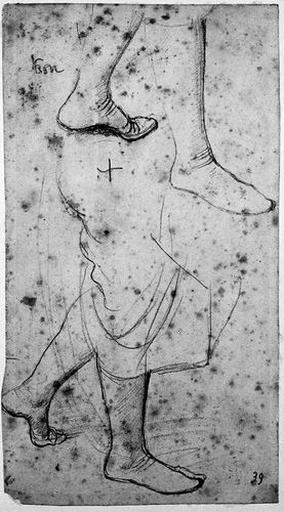 Virgile (Deux études pour ses pieds). Verso : Draperie, manteau de Virgile (?)