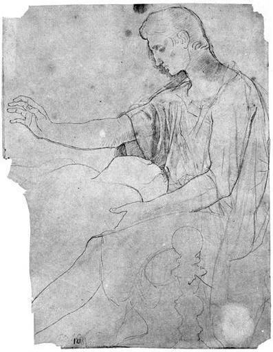 Auguste (Son costume sur un calque de la figure nue, avec silhouette d'Octavie.)