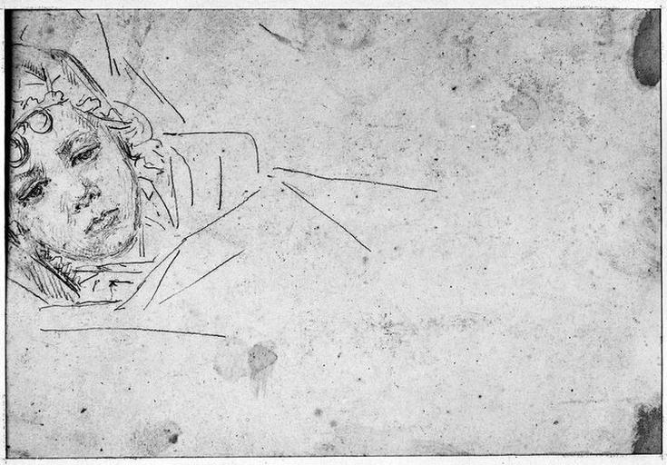 Auguste (Sa tête). Verso : Tête de petite fille, couchée