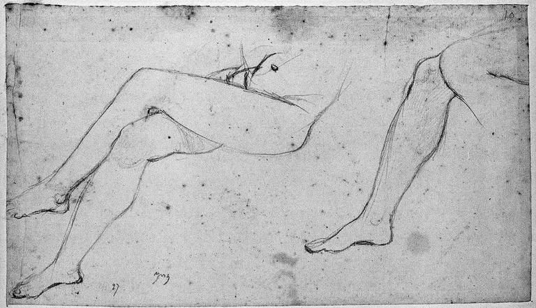 Octavie (Ses jambes nues). Verso : Auguste, deux études, et reprise du corps d'Octavie_0