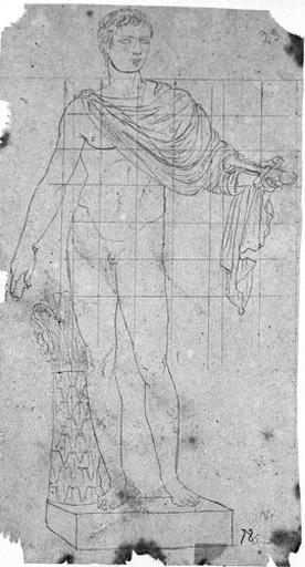 Statue de Marcellus (Nu, une chlamyde sur l'épaule, tenant un bâton et une épée.)