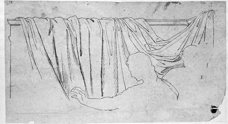 Draperie (Derrière la silhouette d'Auguste, avec un peu le contour de Mécène)_0