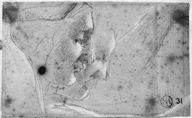 Virgile (Son profil, les yeux baissés, et reprise à côté). Verso : Un bras