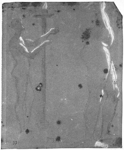 Virgile (?) Deux études de nu, de profil à droite, les bras tendus, dont une devant un candélabre_0